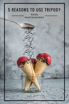 Tripod. Food Photography. Manfrotto. Nikon. Healthy Laura. Easy. Ice cream. Sesame Seeds. Action. Pour. Air. Glass. Grey.