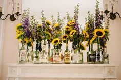 Like the idea of the whiskey bottles, not the sunflowers. Someone else's awesome wedding dubbed 'whiskey and wildflowers' from Offbeat Bride Wedding Table, Fall Wedding, Diy Wedding, Rustic Wedding, Dream Wedding, Wedding Ideas, Wedding 2015, Reception Table, Wedding Photos