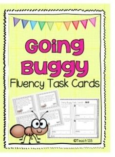 Insects Fluency Task Cards - 28 tasks cards about ants, bees, butterflies, fireflies, flies, grub worms, and ladybugs.  Can be used as a partner activity or set up as a center.  paid