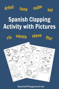 Spanish syllables in a fun clapping game. Kids learn the rhythm of the language and vocabulary as they clap the words. Printable picture cards!