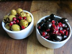 The heady mix of aromas and taste add that seasonal touch to any table, and can be considered the olive equivalent of hot mulled wine. Spanish Olives, Marinated Olives, Mulled Wine, Pomegranate, Olive Oil, Appetizers, Fruit, Christmas, Recipes