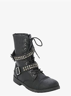 "Combat your shoe urge with this edgy boot. It has a trend-savvy vibe with hematite-tone studs. It's ready to wear when you want to add a little attitude to your night on the town.<ul><li> 1"" heel with 1/2"" platform</li><li>Man-made materials</li><li>Imported</li></ul>"