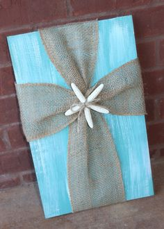 Cross Decor White and Turquoise Paint Distressed Wood With Burlap Cross Beach Decor Shabby Chic