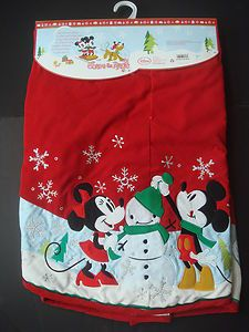 NEW DISNEY Mickey Minnie Mouse Christmas Tree Skirt Red Corduroy