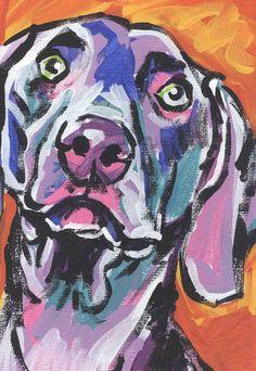 Weimaraner modern Dog art print pop dog art by BentNotBroken, $22.99