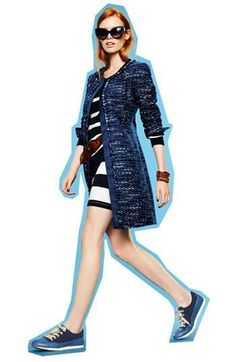 Cute combo! Tweed jacket with stripy dress.