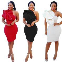 98a1f08c44 Inclined One Shoulder Ruffles Bandage Dress Women Inclined One Shoulder  Ruffles Bandage Dress New 3 Colors Sleeveless Club Dress