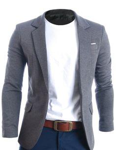 FLATSEVEN Mens Slim Fit Casual Premium Blazer Jacket Grey, L (Chest 42)