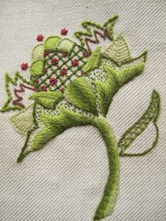 Margaret Dier Embroidery: Crewel work embroidery.