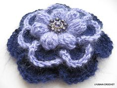 Ravelry: LyubavaCrochet's Mohair Brooch Flower 3 Layers 7 Petals 2 Colours