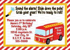 Firetruck Birthday Invitation - Fireman Birthday Party - Fire - Firetruck Clip Art - Fireman Birthday Invite - Digital, You Print. $5.99, via Etsy.