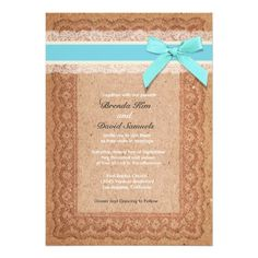 Blue Rustic Lace Burlap Wedding Invitation