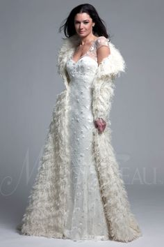 "Modern Trousseau, ""Nadia Coat."" THE COAT!!! Absolutely fabulous and ankle length for extra warmth, this coat is constructed of silk fibers, and makes a dramatic entrance for any fall or winter wedding. Available in Light Ivory."