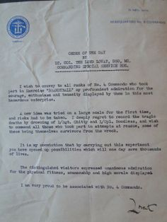 Letter to No.4 Commando from Lord Lovat re Exercise Brandyball