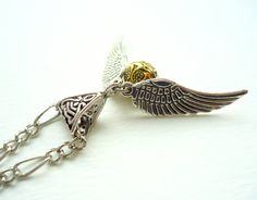 Harry Potter Golden Snitch Necklace  Gold by ViperCoraraDesigns, $16.00