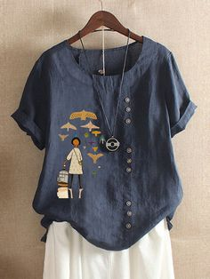 2019 Women New Vintage Cotton And Linen Comic Print O Neck Short Sleeve Blouse Casual Loose Plus Size Shirt Tops Retro Elegant Short Sleeve Shirts Short Sleeve Blouse, Short Sleeves, Short Fille, Baggy, Linen Tshirts, Themed Outfits, T Shirts For Women, Clothes For Women, Casual T Shirts