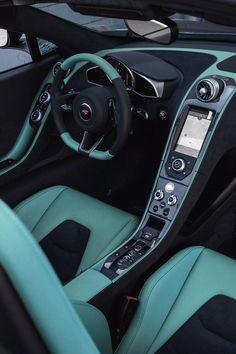 Turquoise on black McLaren interior