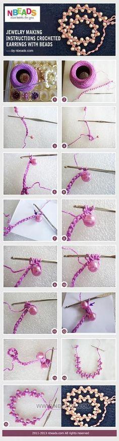 Jewelry Making Instructions-Crocheted Earrings with Beads – Nbeads ✿⊱╮Teresa Restegui http://www.pinterest.com/teretegui/✿⊱╮