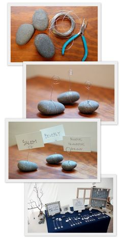 Stone Paper/Photo Stands - display product information and prices at a craft fair.
