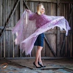 Dance with me! Pale Rose hand knitted mohair shawl is inviting You ;)