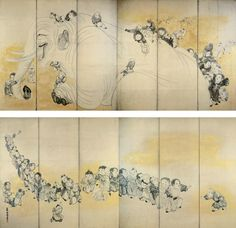 Nagasawa Rosetsu (長沢蘆雪; 1754–1799), Chinese Children at Play, Edo period. Pair of six-panel folding screens; ink and gold on paper. Mary Griggs Burke Collection, gift of the Mary and Jackson Burke Foundation.