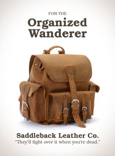 Saddleback Leather Front Pocket Backpack in Tobacco | 100 Year Warranty | $498.00