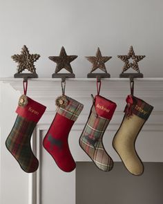 """""""Alpine"""" Christmas Stockings by French Laundry Home at Horchow.  They feature a mix of plaids, burlap and woodlands animals. Add personalization to make them your own.    #Stockings #ChristmasStockings #Holiday #Horchow"""