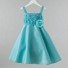 Girls Harper Dress with Ruffles & Flower  Turquoise