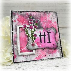 Handmade card by Julee Tilman featuring stamps from Sweet 'n Sassy Stamps. #handmadecards #stamper Ink Splatter, Flower Spray, Black Paper, Ink Pads, Cool Cards, I Card, Card Making, Paper Crafts, Birthday
