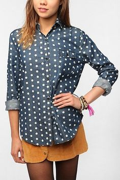 BDG Polka Dot Button-Down Denim Shirt!  This would be so cute under a big comfy sweater and cords.