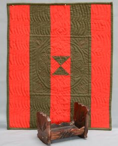 """""""Welsh"""" doll quilt, hand quilted, woolen fabrics, traditional quilting  pattern"""