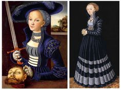 I don't speak German, but this appears to be a 71-page (!!) message board thread on Cranach gowns (this image is a Photoshopped-to-blue picture of two gowns that were originally red.)