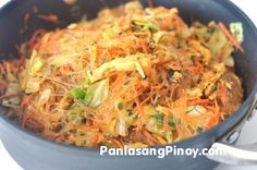 Pancit Sotanghon is a type of noodle dish in the Philippines. This version that I created is for the vegetarians and vegans alike. The ingredients of Vegetarian Pancit Canton are comprised of vegetables plus the vermicelli noodles, which is made from grains. I did not use any component that contains animal by product. Don't let the ingredients