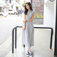 Pleated Maxi Dress - Strawberrycoco