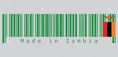 Barcode set the color of Zambia flag, A green field with an orange colored eagle in flight over a rectangular block of red black and orange. text: Made in Zambia. Zambia Flag, Eagle In Flight, Green Fields, Graphic Art, Bar Chart, Orange, Art Designs, Red Black, How To Make