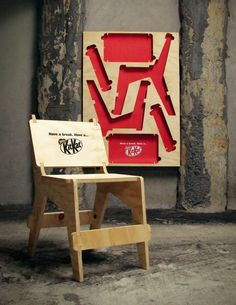 poster chair: The Chair Street Posters designed by JWT Auckland are flat-pack style chairs made from ply that passers bye can pull off and assemble.