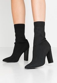 Missguided STACKED HEEL POINTED TOE - Bottines à talons hauts - black - ZALANDO.FR