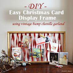Shakti•Dove: Easy DIY Christmas card display frame using vintage bump chenille