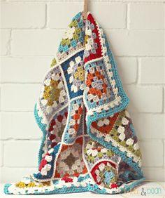 crochet baby blanket | colourful retro granny square | wool