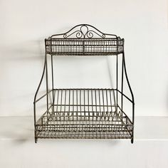 French Vintage Dish Rack - Dish Strainer - Dish Drying Rack - Iron Wire Dish Rack - French Kitchen Storage - Dish Display Rack