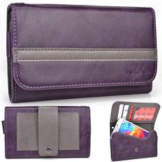 EXXIST® Graphite Series.. Women's vegan patent leather Clutch for Nokia Lumia Icon / Lumia 929 LTE-A (Color: Purple / Grey Stripe) -ESMLGPU1 ** For more information, visit now : Travel essentials