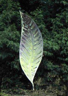 Copper Abstract Garden Sculptures #sculpture by #sculptor Peter M Clarke titled: 'Copper Verdigris Leaf Form Xlll (Leaf Sculpture)' £825 #art