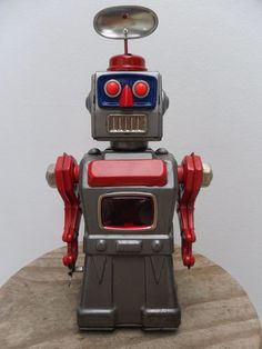 Rare Grey Tremendous Mike the Robot Clockwork Aoshin Made in Japan 1960's
