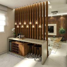 Interior Decorating Plans for your Home Bar Living Room Partition Design, Living Room Divider, Room Partition Designs, Wood Partition, Partition Ideas, Room Partition Wall, Room Divider Walls, Home Room Design, Home Interior Design