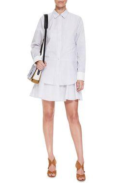 Cotton Blend Shirt Dress with Ruffle Skirt by Derek Lam 10 Crosby Now Available on Moda Operandi