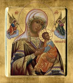 Russian Orthodox Strastnaya icon also known as Our Lady of Perpetual Help icon and as the Virgin of the Passion or Theotokos of the Passion