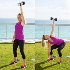 This total-body exercise relies heavily on your abs and back muscles as you work your arms