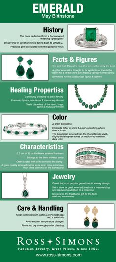 Happy Birthday May Babies! Learn more about your emerald birthstone in this infographic. #RossSimons