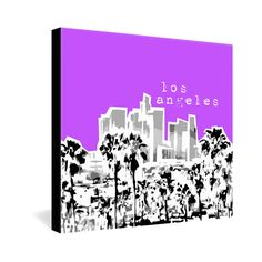 Bird Ave Los Angeles Purple Gallery Wrapped Canvas
