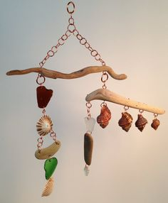 Beach Inspired Driftwood Mobile with Sea Glass, Beach Stones, Sea Shells, Copper Wire